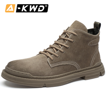 High-Tops Men Snow Boots Botas De Invierno Khaki Brown Chealsea Boots Men Pu Leather Single Outdoor Tooling Ankle Booots Lace-up