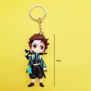 Image 2 - 6pcs/set Anime Demon Slayer Action Figure Toy Llaveros Kimetsu No Yaiba KeyChains Pendant Doll Toys
