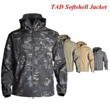 TAD Softshell Fleece Jacket Camping Hiking Windbreaker Outdoor Waterproof Hunting Camouflage Men Clothes