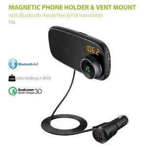 Transmetteur Bluetooth FM voiture avec support de téléphone magnétique | Charge rapide QC 3.0, lecteur MP3, lecteur de musique PUO88