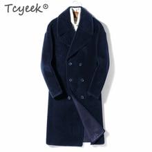 Tcyeek, abrigo de piel auténtica para invierno, ropa para hombre, abrigo de oveja vaporosa 2020, chaqueta de invierno para hombre, chaquetas largos lujosos de lana Natural A1800092