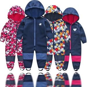 Image 1 - kids / boys softshell jumpsuit, girls overalls with fleece lining, windproof & waterproof