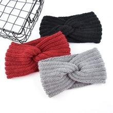 New Solid Crochet Knitting Woolen Headbands Winter Women Bohemia Weaving Cross Handmade Hairbands
