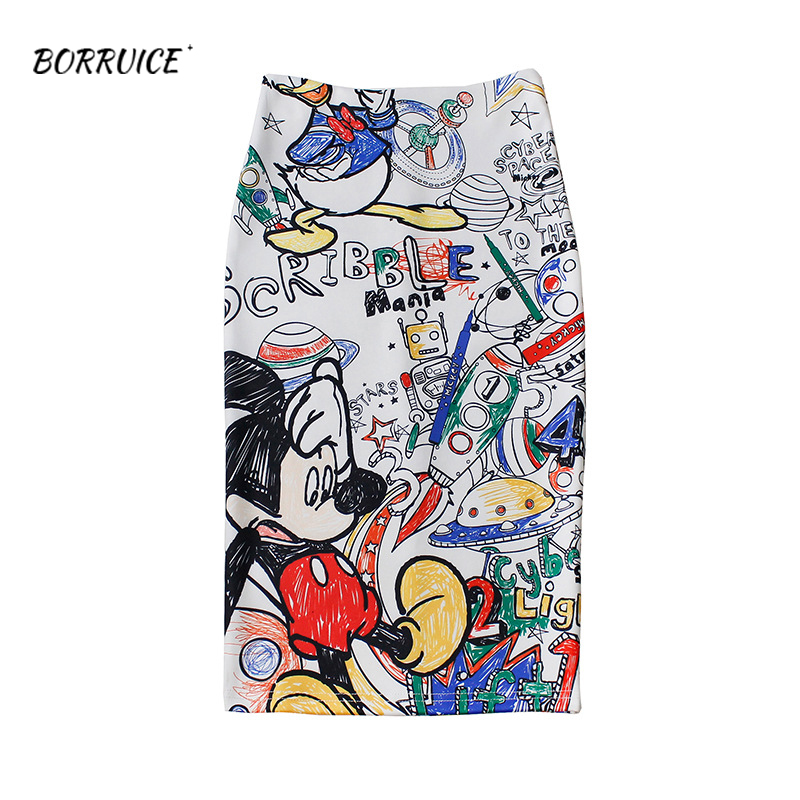 2020New Womens Summer Skirt Tight Casual Cartoon Mickey Mouse Printed Split Pencil Skirt Sexy High Waist Slim Knee Skirts