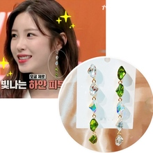 MENGJIQIAO Wholesale Vintage Fashion Green Crystal  Drop Earrings For Women Girls Elegant Oorbellen Party Jewelry Gifts