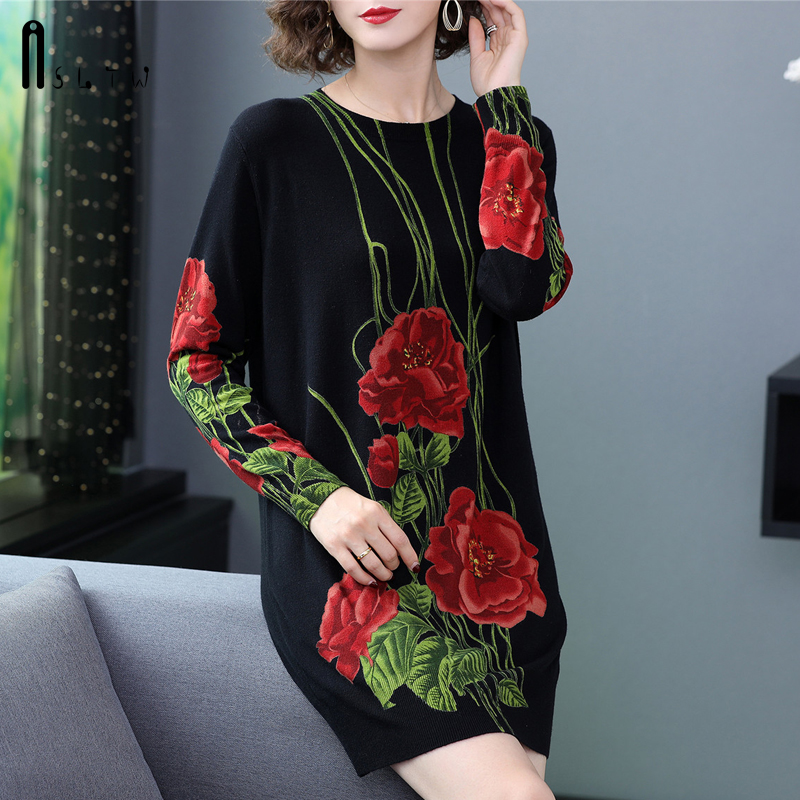 ASLTW Fashion Long Sweater Dress Autumn And Winter Long Sleeve Pullovers Print Floral Knitwear Jumper Plus Size Sweater Women