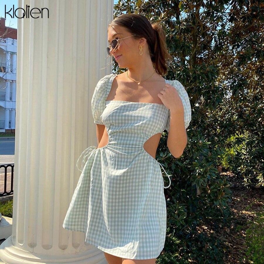 KLALIEN модные элегантные французские романтические летние женские платья новые уличные вечерние мини-платья с пышными рукавами с вырезами в ...