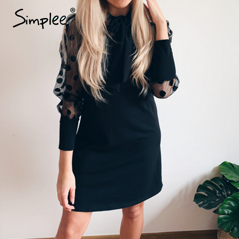 Simplee Sexy Hollow Out Party Dress Long Sleeve Solid Polka Dot Women Summer Dress Elegant Work Wear Evening Office Dress 2020