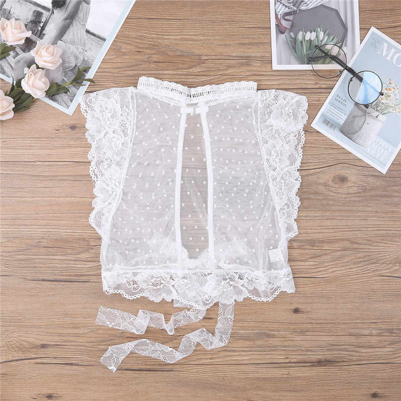 Vrouwen Witte Zachte Mesh See Through Sheer Lingerie Hoge Hals Sexy Floral Lace Bra Top Bralette Cup Draadloze Beha Dames crop Top