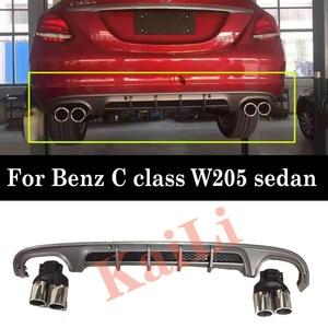 Image 1 - Difusor de parachoques trasero de materiales PP para mercedes benz Clase C W205 difusores de versión deportiva de Sedan Regurlar de 4 puertas con puntas de escape