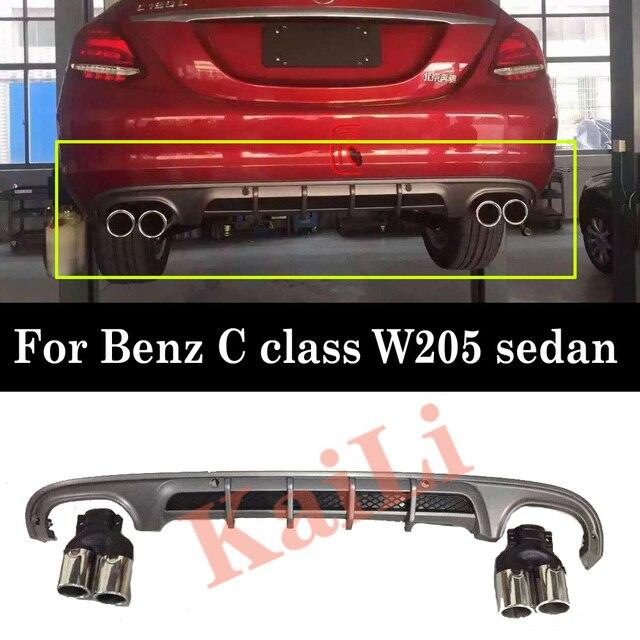 Difusor de parachoques trasero de materiales PP para mercedes benz Clase C W205 difusores de versión deportiva de Sedan Regurlar de 4 puertas con puntas de escape