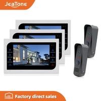 JeaTone Video Door Phone Wired Intercom 2pcs Pinhole Cameras + 3pcs 10'' LCD Monitor PIR Motion Detection Night Vision System