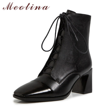 Meotina Genuine Leather High Heel Ankle Boots Women Shoes Square Toe Block Heels Short Boots Lace Up Zipper Lady Boots Brown 40 meotina cow suede high heel short boots ankle boots women shoes square toe block heels zipper boots ladies black winter size 43