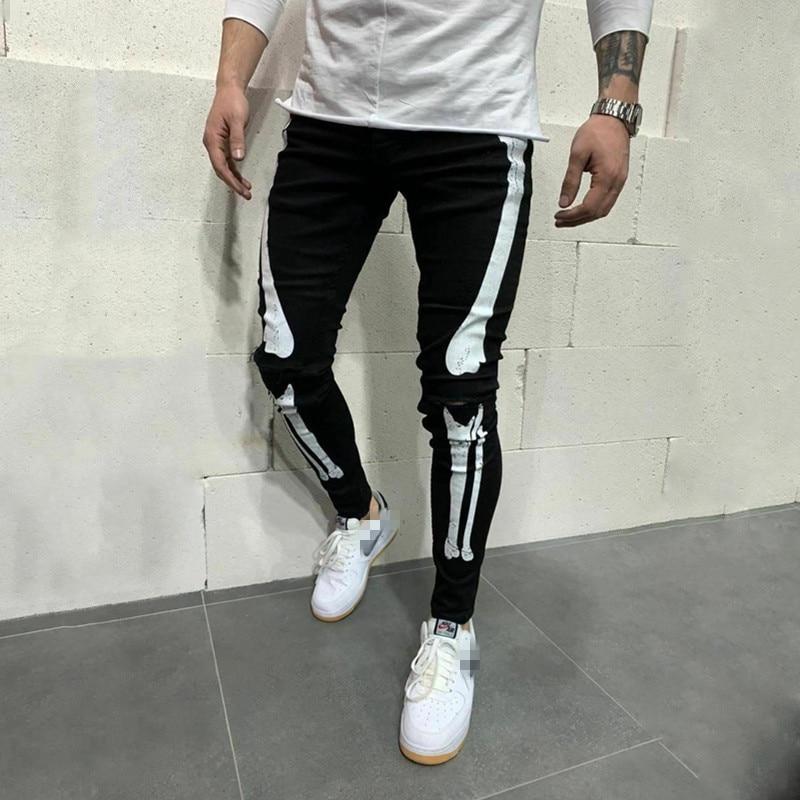 New Cool Designer Men Stretchy Ripped Skinny Biker Print Jeans Destroyed Hole Fashion Slim Denim Scratched High Quality jeans (4)