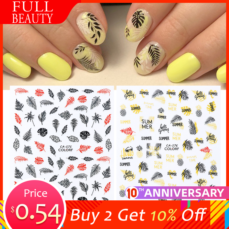 1pc Autumn Leaf 3D Sticker Yellow Decals For Nail Slider Flower Black Purple Design Adhesive DIY Nail Polish Sticker LECA574-584