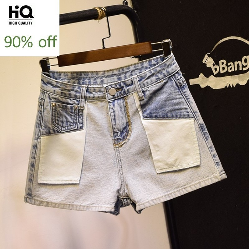 Personality Fashion Patchwork Panelled Female Denim Shorts High Waist Vintage Loose Casual High Street Women Wide Leg Shorts