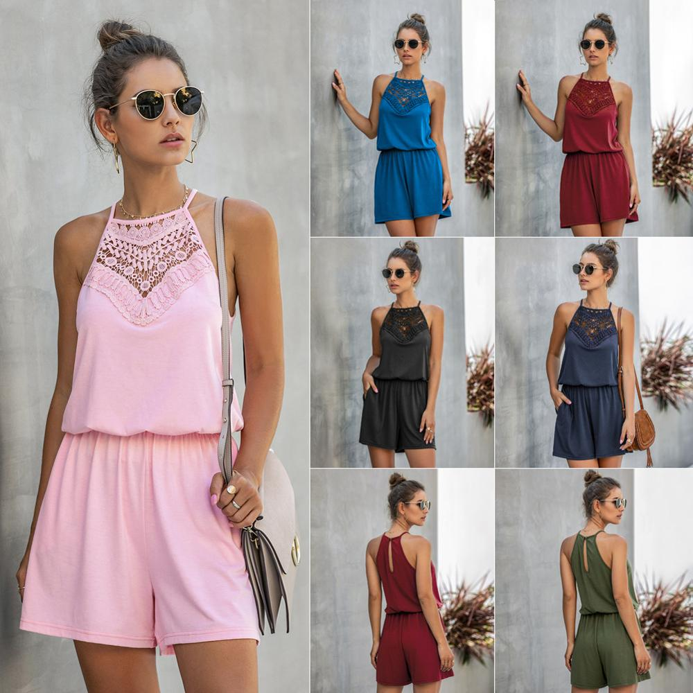 Sexy Halter Off Shoulder Lace Holow Out Patchwork Playsuits 2020 Summer Women Solid Casual Slim Pocket New Short Jumpsuits Femme