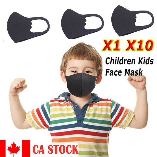 New Washable Childern Face Mask PM2.5 Protective Anti-Dust Children Mask Kids Anti Flu Reusable Masks Pure Black
