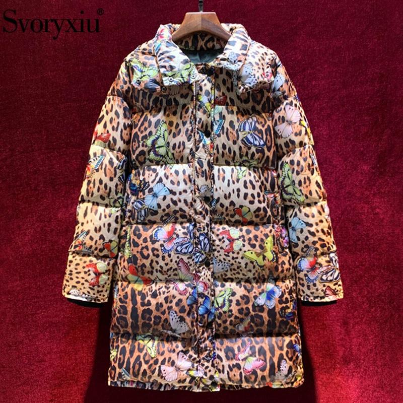 Svoryxiu Vintage Leopard Butterfly Print White Duck Down Down Jackets Overcoat Women's Runway Luxury Winter Down Jacket Coat