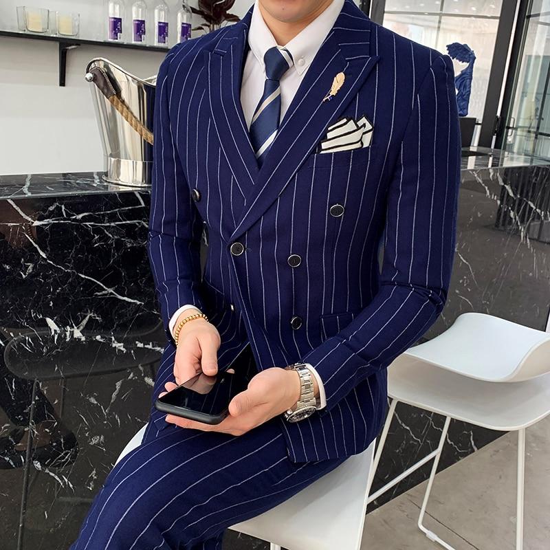 wedding : Luxury mens striped wedding casual tuxedo mens British slim suit 2pcs mens quality business social club suit Costume homme
