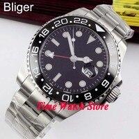 Bliger 43mm siyah steril arama parlak kırmızı GMT el seramik çerçeve safir cam otomatik hareketi erkek saati 350
