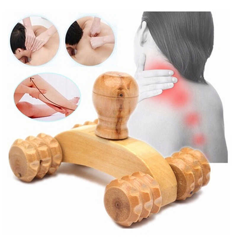 4 koła Car Roller solidne drewniane całego ciała relaksujący masaż dłoni narzędzia refleksologia twarz ręka stopa powrót terapia dla ciała