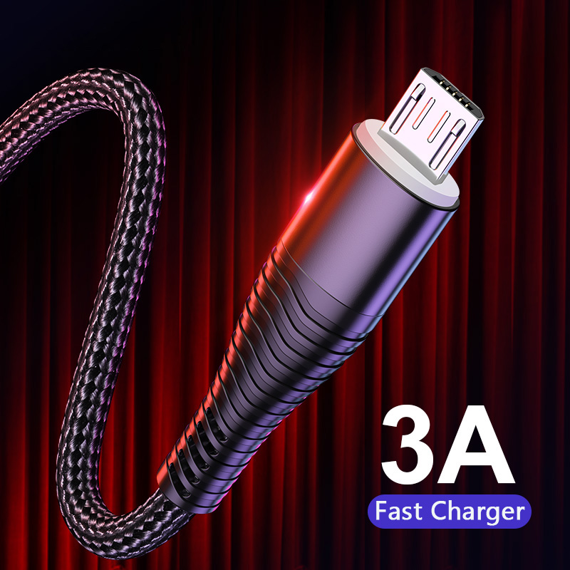3A Fast Charging Micro USB Cable,Sync Data Microusb Cable For Samsung Xiaomi Huawei Android Mobile Phone Cable Micro Cord