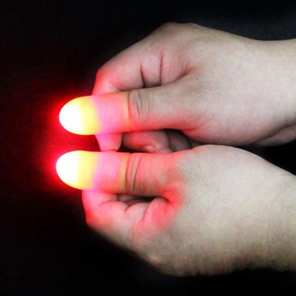 2Pcs Magic LED Battery Powered Thumbs Fingers Light Trick Prop Party Supply Suitable For Masquerade Trick Props Great Gifts Toys