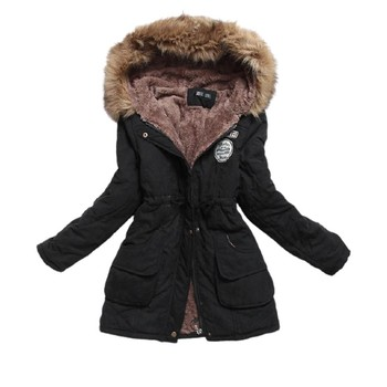 Winter Jacket Women Plus Size 3xl Long Parkas Mujer Thick Cotton Padded Ladies Overcoat Fur Collar Hooded Coat Female Outwear недорого
