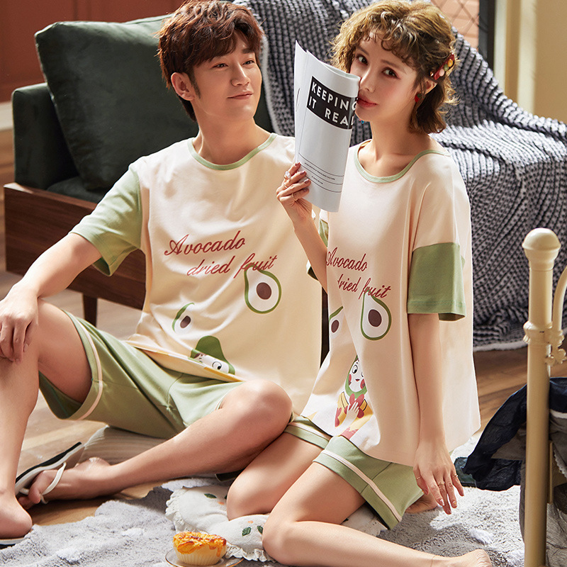 Couple 100% Cotton Pajamas Short Sleeve Cartoon Sleepwear Pyjamas Set Men Pijama Two Piece Set Lovers Loungewear Short Set 3XL