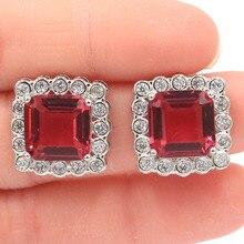 17x17mm New Arrival Pink Raspberry Rhodolite Garnet CZ Woman's Silver Earrings