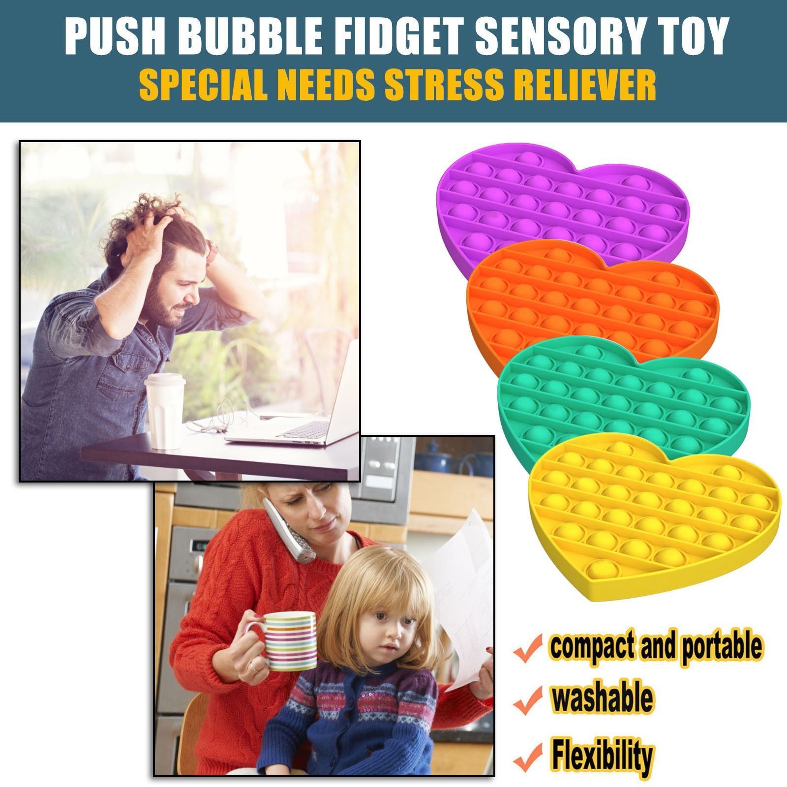Fidget-Toys Needs-Stress Poppit Special Simple Dimple Love-Push Sensory-Toy Reliever img3