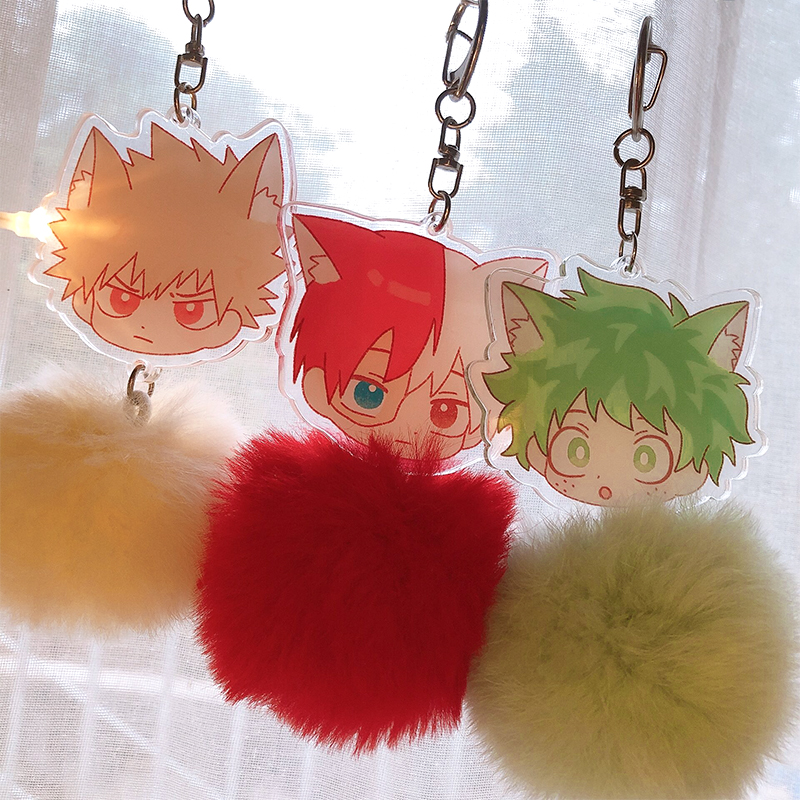 Anime Boku No My Hero Academia Midoriya Todoroki Bakugou Animal Ears Plush Keychain Cosplay Acrylic Figure Keyring Charms