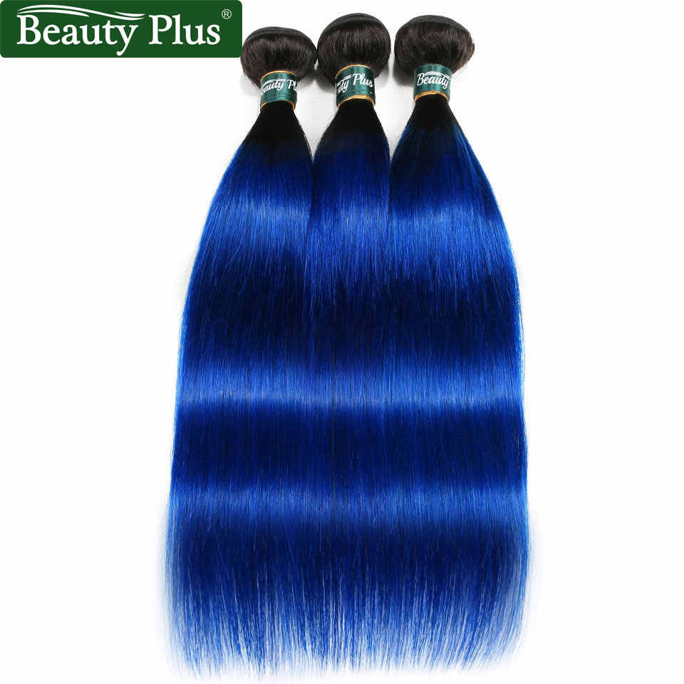 Blue Hair Extensions 3 Bundle Deals Brazilian Straight Pre Colored 2 Tone Ombre Hair Bundles Dark Roots Remy Human Hair Weave BP
