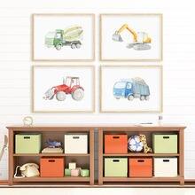 Автомобильный трекер и гусеницы Настенная картина для детской