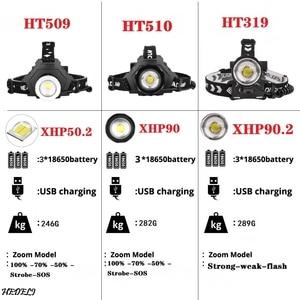 Image 2 - XHP90 LED Reflektor Latarka czołowa dużej mocy XHP70 Reflektor 18650 Akumulator USB Kemping XHP50 wodoodporna lampa czołowa Latarka XHP50.2 LED handight