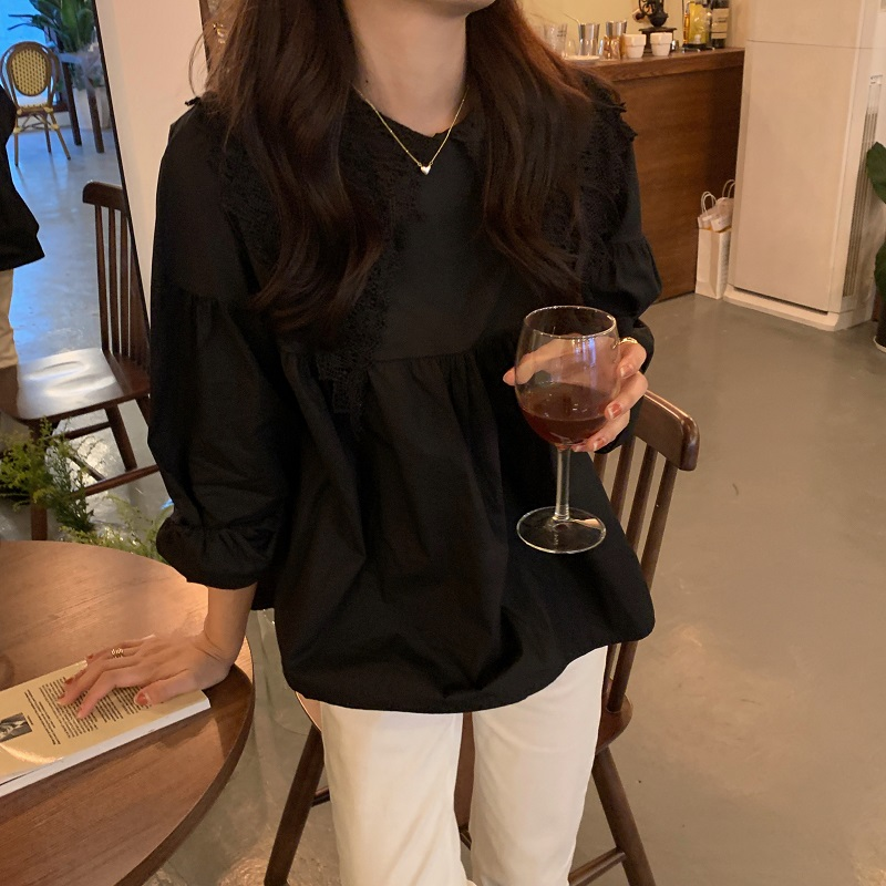 H269c9f452e5840e7ab47e343d427d3edq - Spring / Autumn Butterfly Lace Collar Long Sleeves Solid Blouse