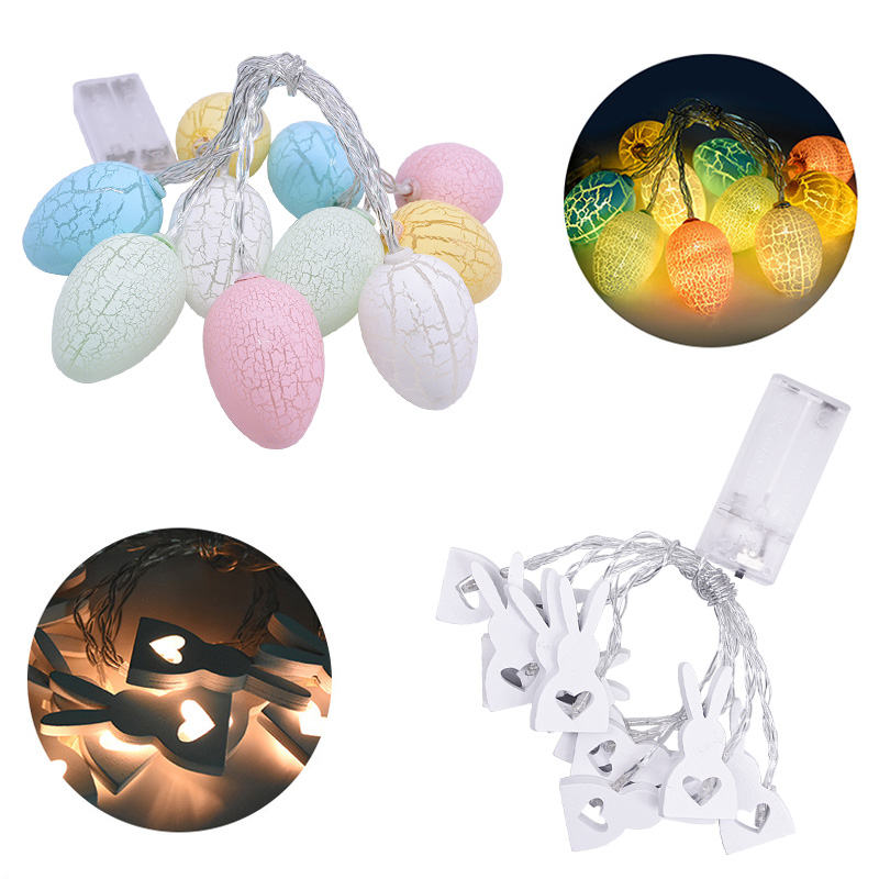 Easter Decoration 1.6m Rabbit Eggs Shaped LED Light String DIY Easter Eggs Kids Gift Happy Easter Party Decoration For Home