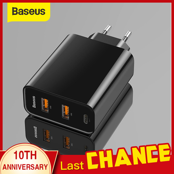 Baseus 3 Ports USB Fast Charger 60W Support Type-C PD Fast Charging QC 4.0 3.0 Phone Charger Quick Charge 3.0 USB C PD Charger