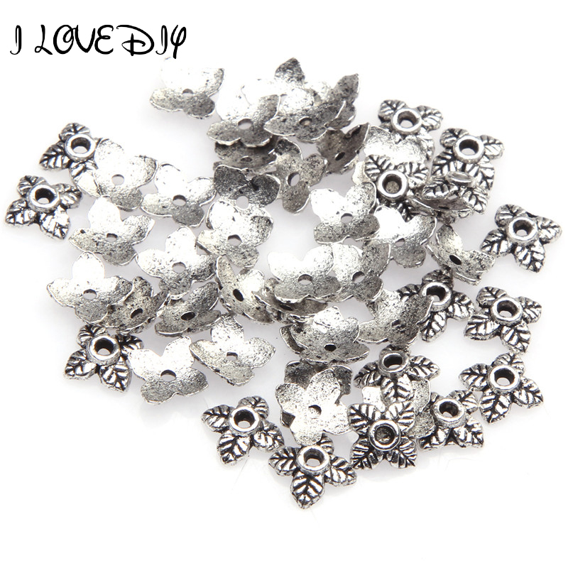 100pcs 6mm Retro Silver/Golden/Bronze Tone Leaf Charm Bead Caps For Jewelry Making Supplies