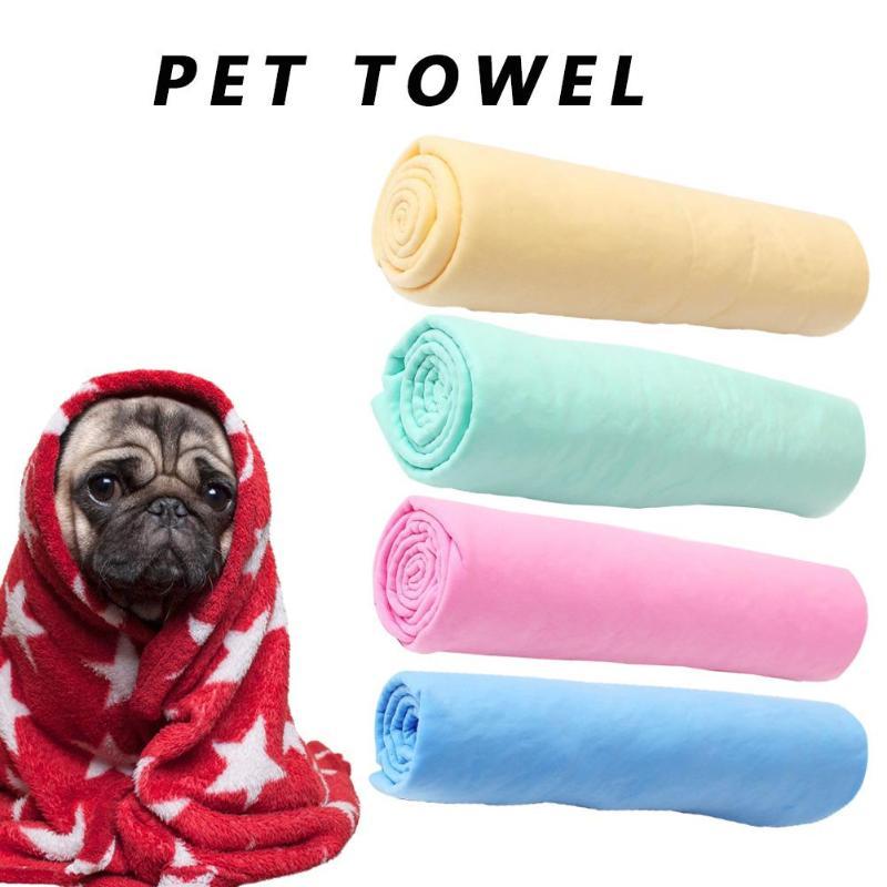 Pet Dog Cat Bath Drying Towel Cleaning Deerskin Ultra-Absorbent Car Towel Pink  Blue  Green  Yellow