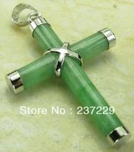 FREE shipping^^^^Christian Prayer Cross Green stone Silver Women Men Pendant Necklace Free Chain(China)