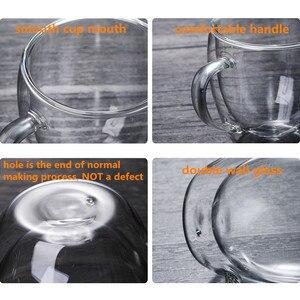 Image 4 - مقاومة للحرارة جدار مزدوج الزجاج القهوة/أكواب شاي وأكواب السفر مزدوجة أكواب القهوة مع مقبض أكواب شرب كاسات صغيرة