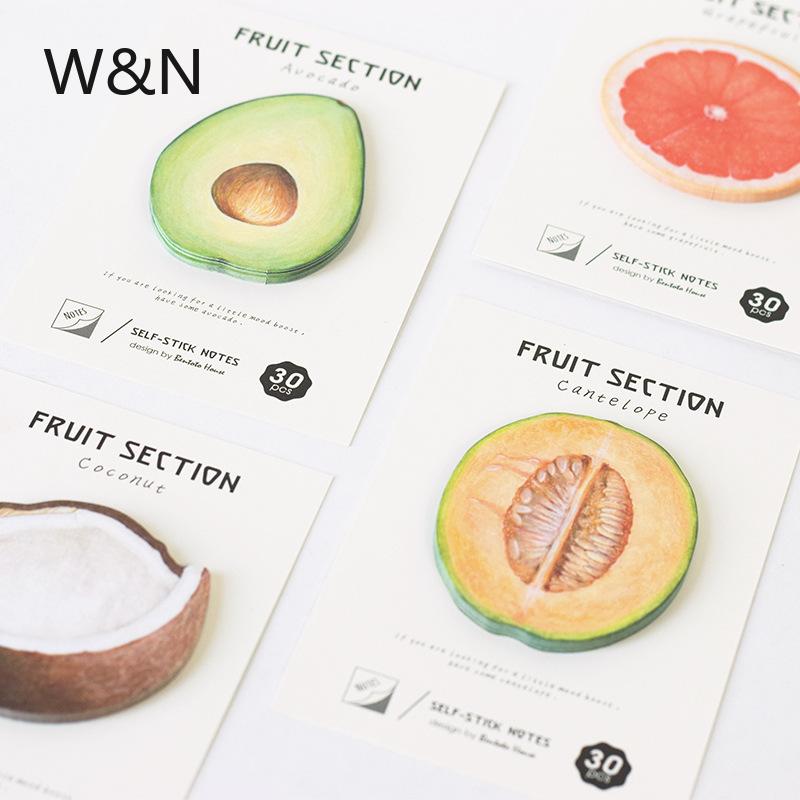 30PCS/Lots Avocado Self-Stick Notes Kawaii Planner Sticker 4 Fruit Creative Designs Memo Pad School Office Supply Stationery