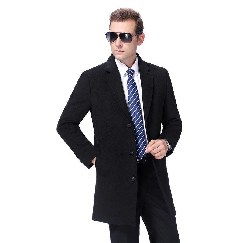 2020 Men Wool Coat Autumn Woolen Long Coat Pea Сoat Winter Wool Blend Long Jacket Male Cashmere Coat Mens Overcoat Korean Style