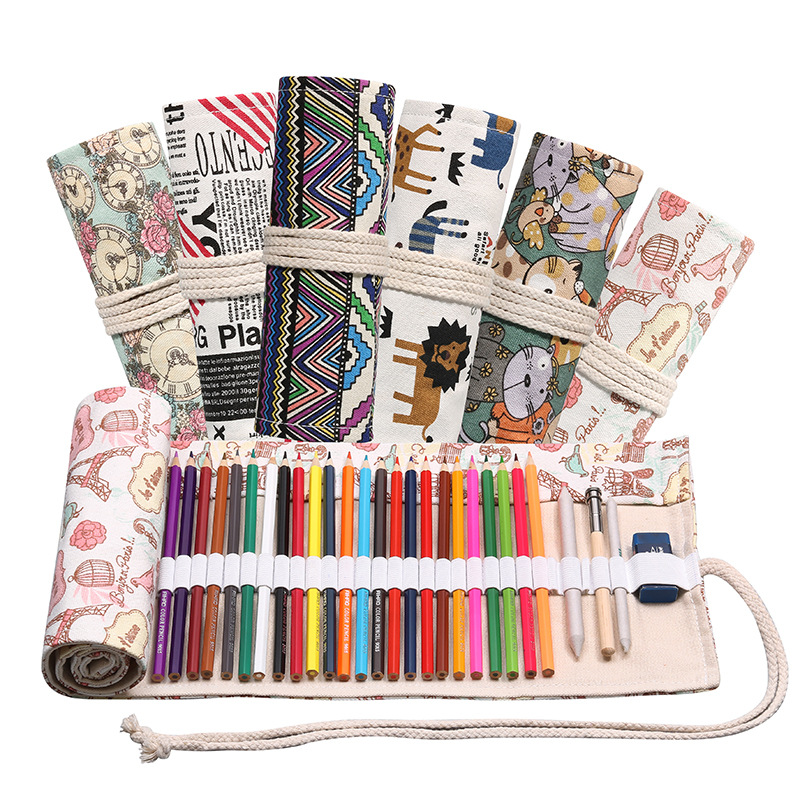 12/24/36/48/72 Holes Roll Colored Pencil Case Kawaii School Canvas Pen Bag For Girls Boys Cute Large Pencilcase Box Stationery