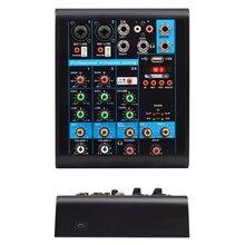 Mini 4 Channels Audio Mixer USB bluetooth MP3 Live Studio DJ Sound Mixing Console Karaoke Computer Phantom Power For KTV 48V