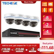 Techgee H.265 4CH 1080P POE NVR Kits de système de sécurité CCTV 2MP POE IP caméra dôme anti vandalisme étanche Kit de Surveillance vidéo