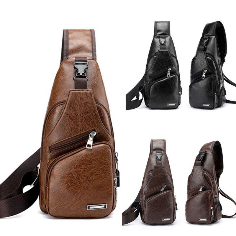 Hot Portable Men PU Leather Sling Chest Pack Crossbody Sport Messenger Bag USB Charging Pockets Sports Travel Bags Hot Sale