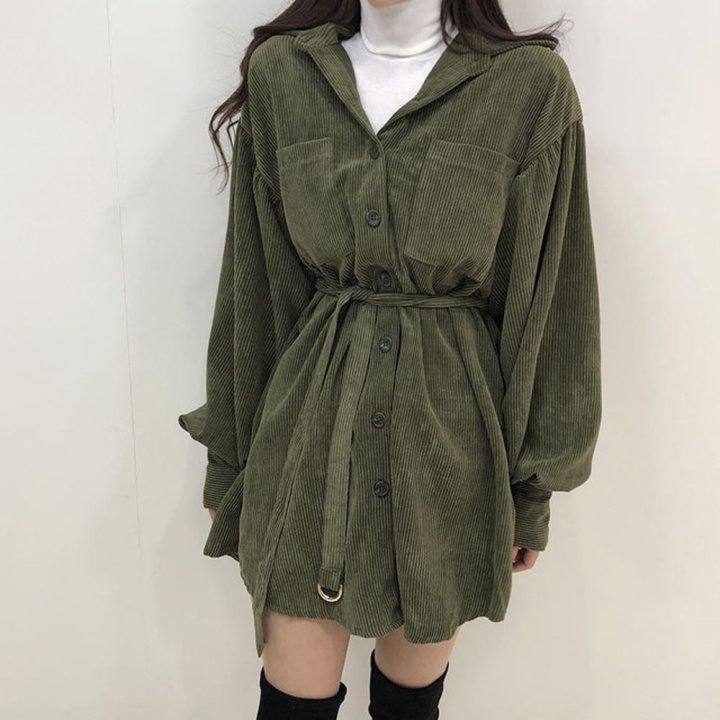 H269d544f0a014baab088a2f63ce6ba38W - Autumn / Winter Turn-Down Collar Long Sleeves Corduroy Solid Mini Dress
